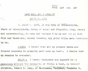 Jacob Levy's will
